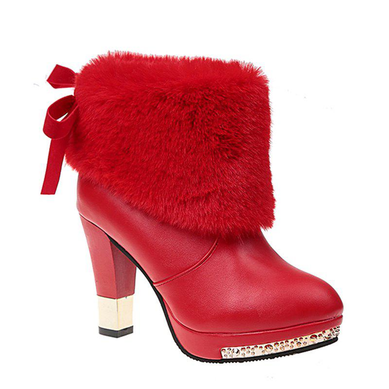 Autumn and Winter Fashion High-heeled Sleeve All-match Plush Boots - RED 41