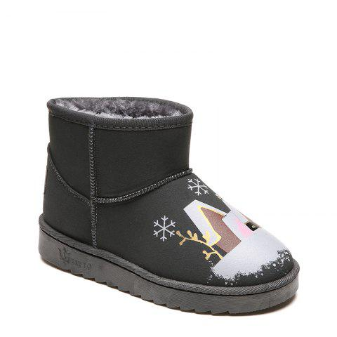 Female Plush Warm Winter Trend Lovely Graffiti Comfortable Feet Snowball Boots - GRAY 40