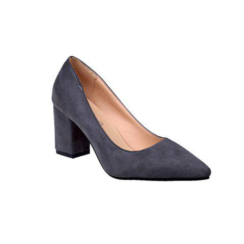 NJ-6813 Pointed Muzzle Feet Thick Shallow Suede Shoes Merchandiser - GRAY 41