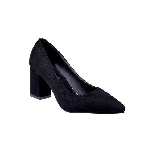 NJ-6813 Pointed Muzzle Feet Thick Shallow Suede Shoes Merchandiser - BLACK 38