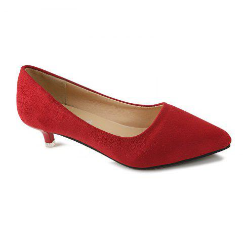 NJ-662 Pointed To The Low Light Suede Shoes Foot Sleeve - RED 36
