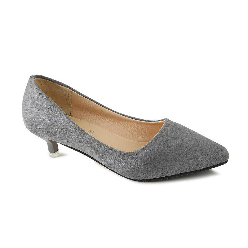 NJ-662 Pointed To The Low Light Suede Shoes Foot Sleeve - GRAY 44