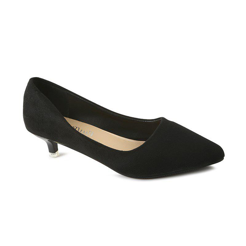 NJ-662 Pointed To The Low Light Suede Shoes Foot Sleeve - BLACK 36