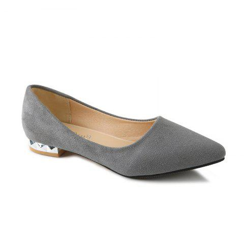 Shallow Mouth Pointed Head Female Small Heel Suede Leisure Shoes - GRAY 44