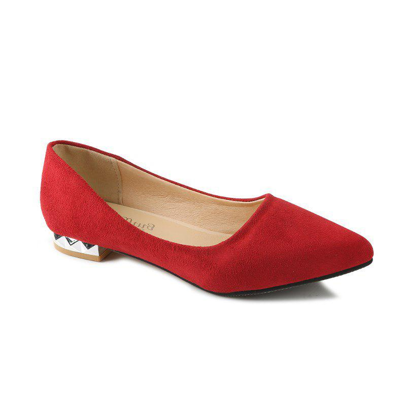Shallow Mouth Pointed Head Female Small Heel Suede Leisure Shoes - RED 39