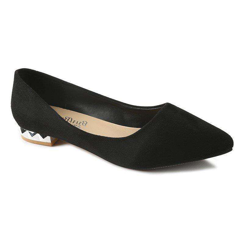 Shallow Mouth Pointed Head Female Small Heel Suede Leisure Shoes - BLACK 36