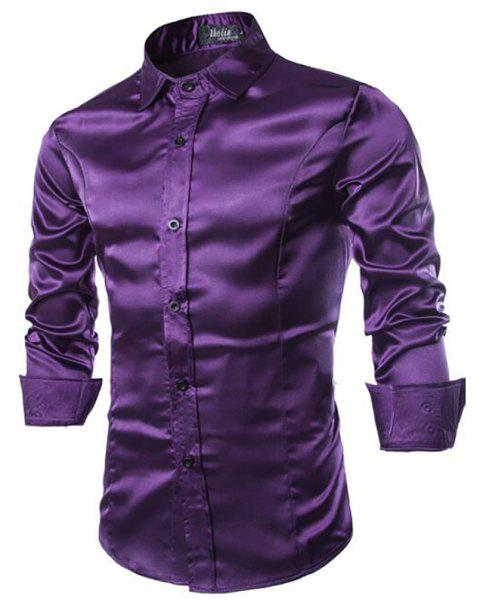 Stylish Solid Color Casual Business Band Collar Designer Shirts for Men - PURPLE XL