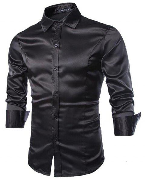 Stylish Solid Color Casual Business Band Collar Designer Shirts for Men - BLACK 2XL