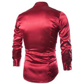 Stylish Solid Color Casual Business Band Collar Designer Shirts for Men - WINE RED L