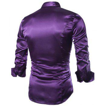Stylish Solid Color Casual Business Band Collar Designer Shirts for Men - PURPLE M