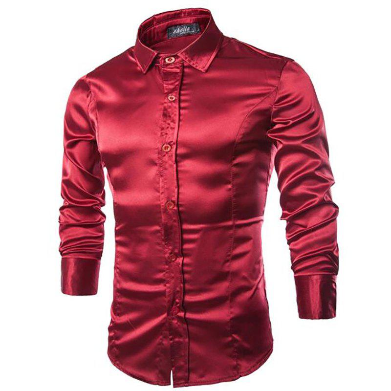 Stylish Solid Color Casual Business Band Collar Designer Shirts for Men - WINE RED XL
