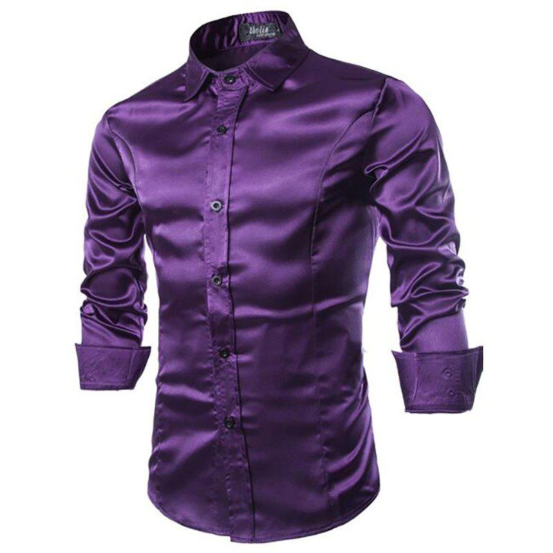 Stylish Solid Color Casual Business Band Collar Designer Shirts for Men - PURPLE L