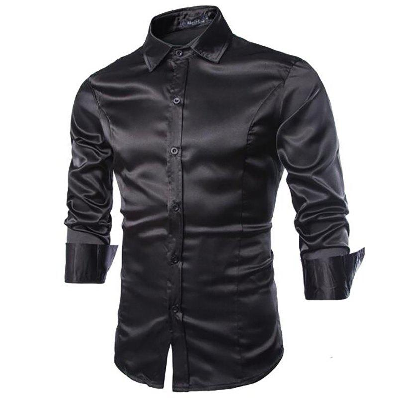 Stylish Solid Color Casual Business Band Collar Designer Shirts for Men - BLACK L