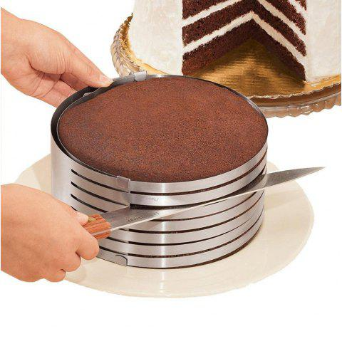 Adjustable 9 Inch - 12 Inch Stainless Steel Layer Cake Slicer Mousse Mould - SILVER