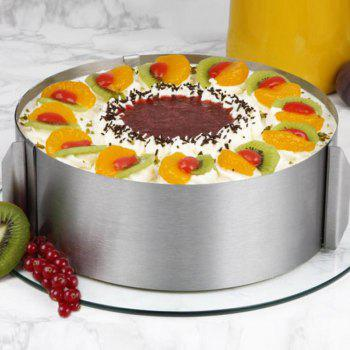 Retractable Stainless Steel Circle Mousse Ring Baking Tool Set Cake Mould Mold Size Adjustable - SILVER SILVER