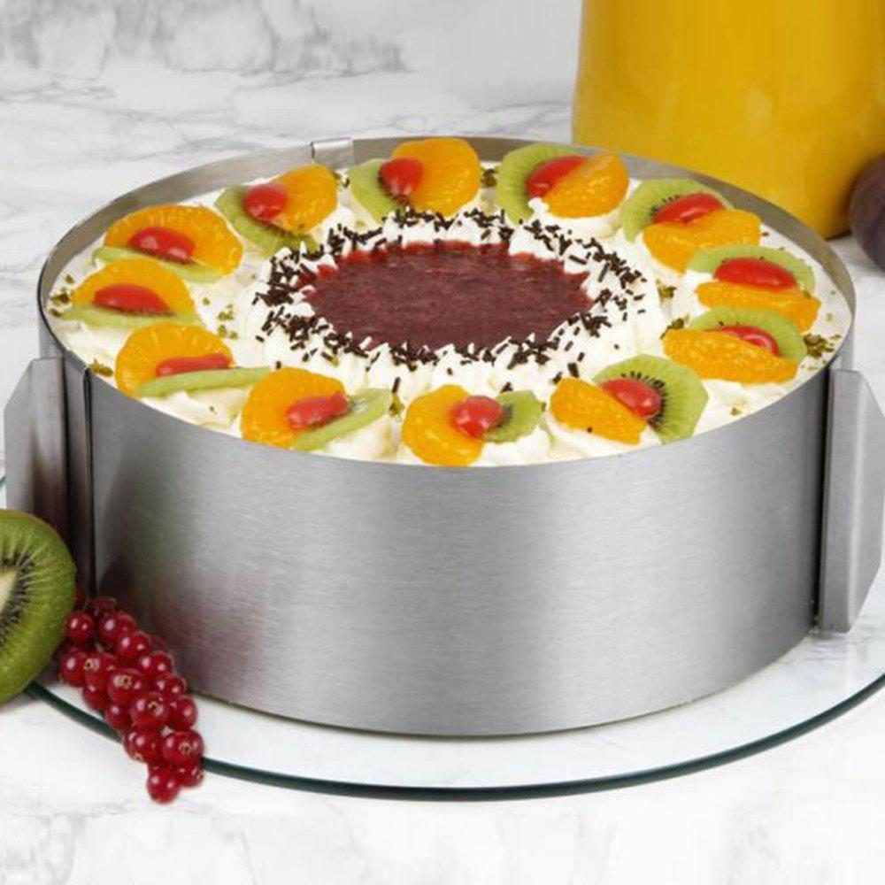 Retractable Stainless Steel Circle Mousse Ring Baking Tool Set Cake Mould Mold Size Adjustable moon shaped fruit mousse ring cake cookie cutter mold set 7 pcs