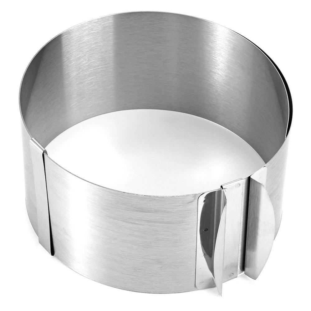 Retractable Stainless Steel Circle Mousse Ring Baking Tool Set Cake Mould Mold Size Adjustable - SILVER