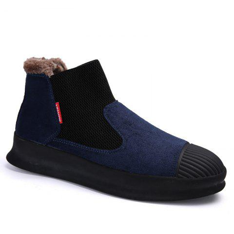 Men Casual Trend of Fashion Home Outdoor Suede Warm Slip on Shoes - BLUE 43