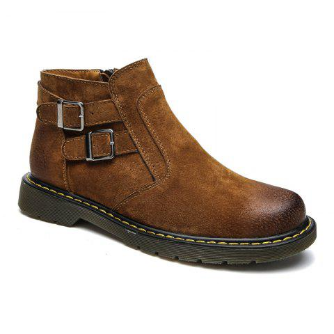 Men Casual Trend of Fashion Home Outdoor Suede Warm Slip on Ankle Boots Shoes - BROWN 40