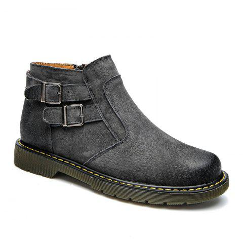 Men Casual Trend of Fashion Home Outdoor Suede Warm Slip on Ankle Boots Shoes - GRAY 40