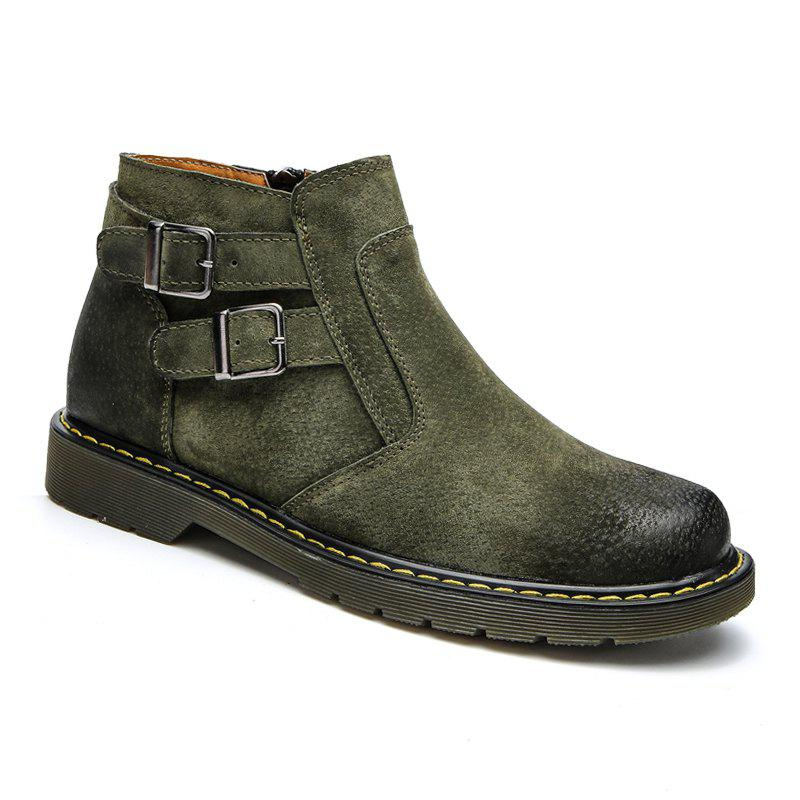 Men Casual Trend of Fashion Home Outdoor Suede Warm Slip on Ankle Boots Shoes - GREEN 40