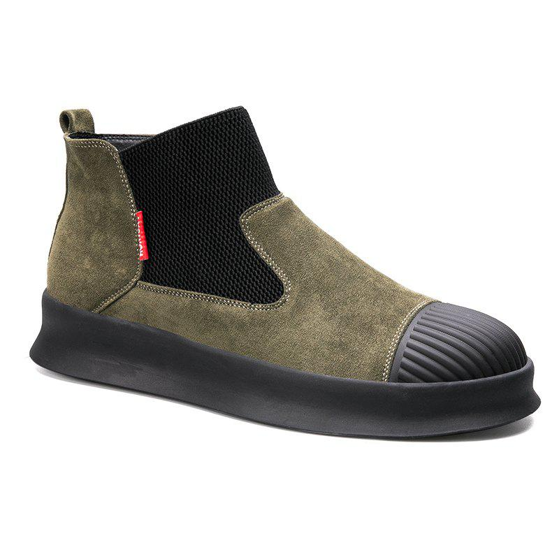 Men Casual Trend of Fashion Home Outdoor Warm Slip on Ankle Boots Shoes - GREEN 40