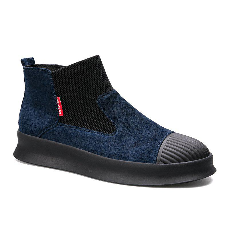 Men Casual Trend of Fashion Home Outdoor Warm Slip on Ankle Boots Shoes - BLUE 40