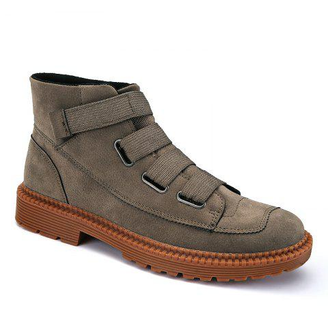 Men Casual Trend of Fashion Home Rubber Outdoor Warm Slip on Ankle Boots Shoes - GRAY 40