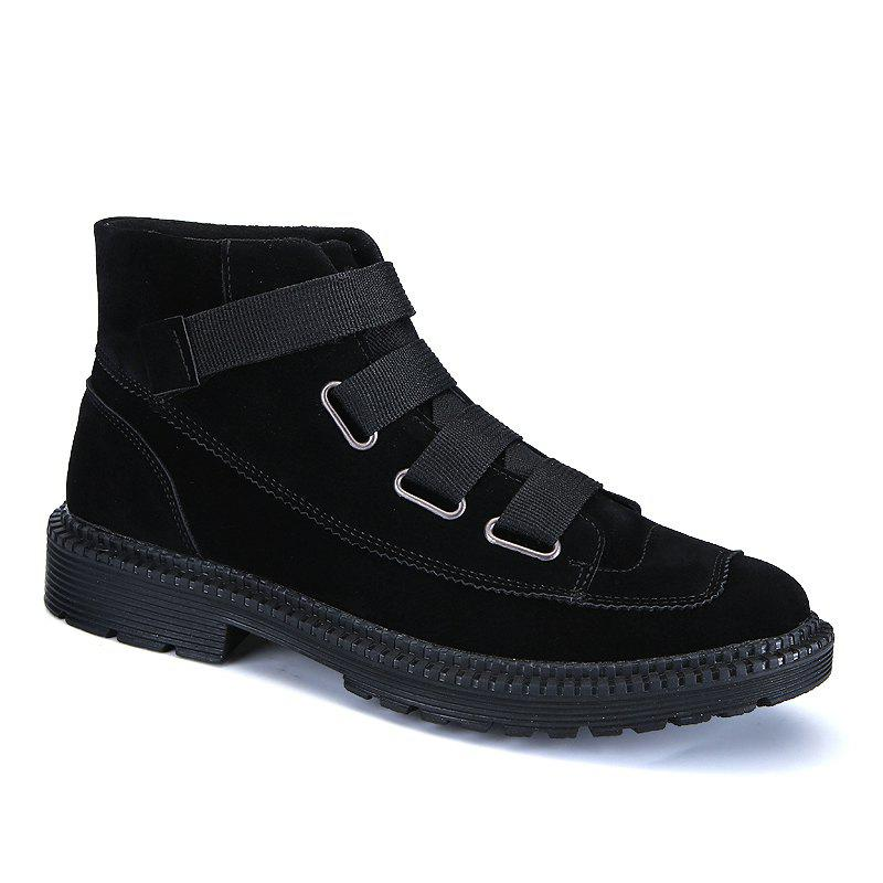 Men Casual Trend of Fashion Home Rubber Outdoor Warm Slip on Ankle Boots Shoes - BLACK 39