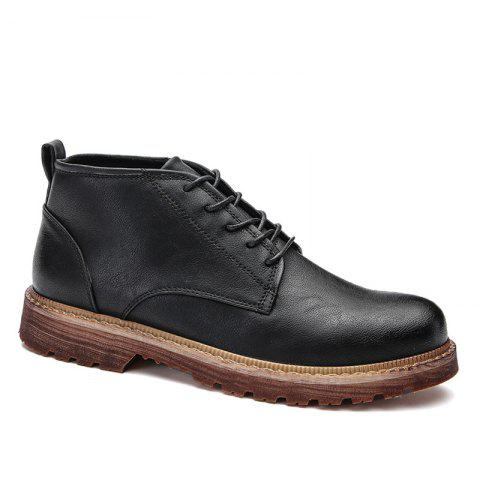 Men Casual Trend of Fashion Home Rubber Outdoor Warm Lace Up Ankle Boots Shoes - BLACK 40