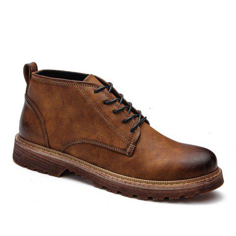 Men Casual Trend of Fashion Home Rubber Outdoor Warm Lace Up Ankle Boots Shoes - BROWN 40