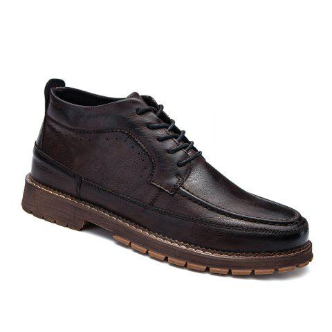 Men Casual Trend of Fashion Home Rubber Outdoor Warm Lace Up Ankle Boots - BROWN 40