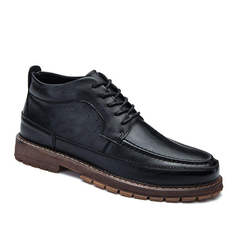 Men Casual Trend of Fashion Home Rubber Outdoor Warm Lace Up Ankle Boots - BLACK 40