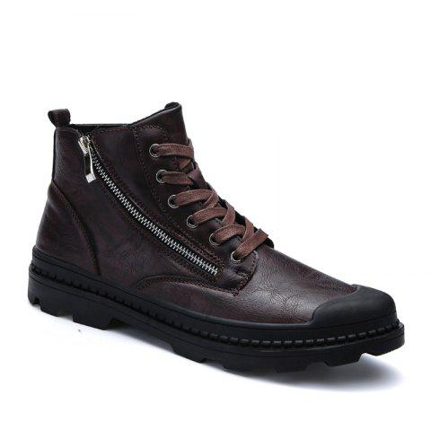 Men Casual Trend of Fashion Home Leather Rubber Outdoor Warm Lace Up Ankle Boots - BROWN 40