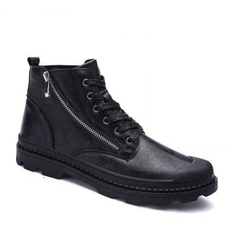 Men Casual Trend of Fashion Home Leather Rubber Outdoor Warm Lace Up Ankle Boots - BLACK 40