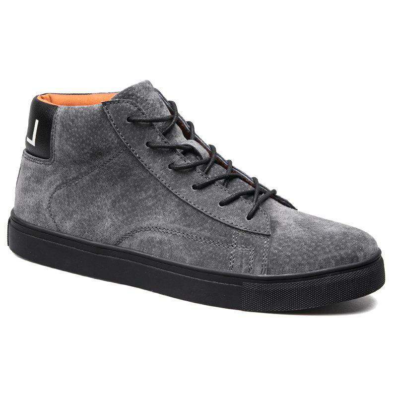 Men Casual Trend of Fashion Rubber Outdoor Warm Lace Up Ankle Boots - GRAY 40
