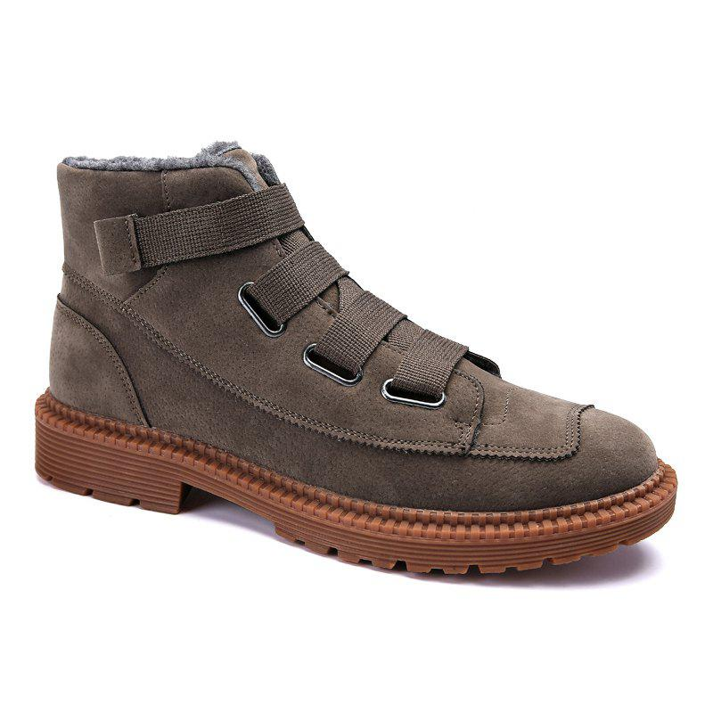 Men Casual Trend of Fashion Rubber Outdoor Warm Lace Up Suede Ankle Boots - KHAKI 40
