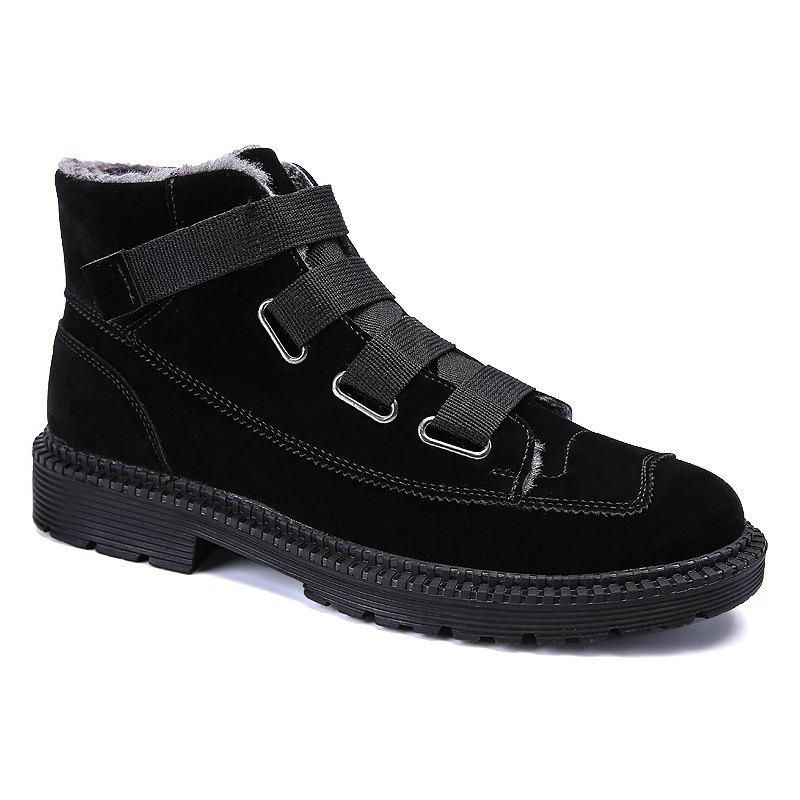 Men Casual Trend of Fashion Rubber Outdoor Warm Lace Up Suede Ankle Boots - BLACK 42