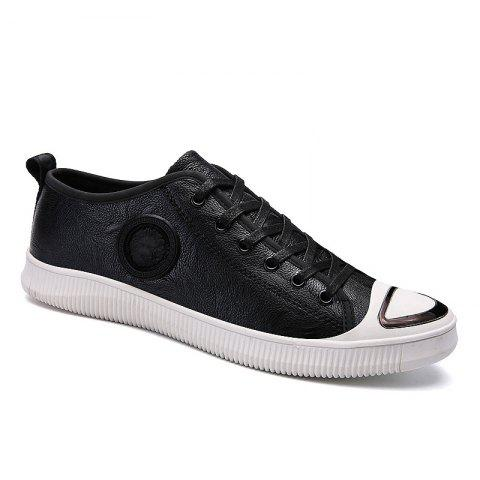 Men Casual Trend of Fashion Rubber Leather Outdoor Warm Lace Up Shoes - BLACK WHITE 40