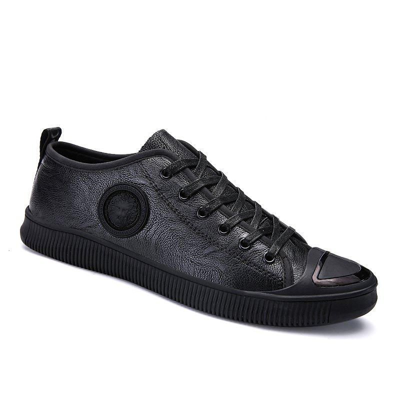 Men Casual Trend of Fashion Rubber Leather Outdoor Warm Lace Up Shoes - BLACK 40