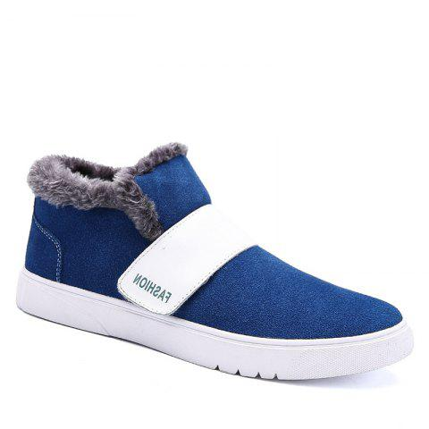 Men Casual Trend of Fashion Rubber Leather Outdoor Warm Snow Ankle Boots - BLUE 40