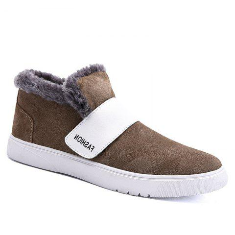 Men Casual Trend of Fashion Rubber Leather Outdoor Warm Snow Ankle Boots - KHAKI 42