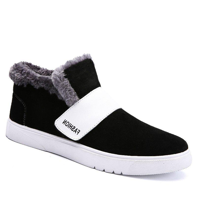 Men Casual Trend of Fashion Rubber Leather Outdoor Warm Snow Ankle Boots - BLACK 40