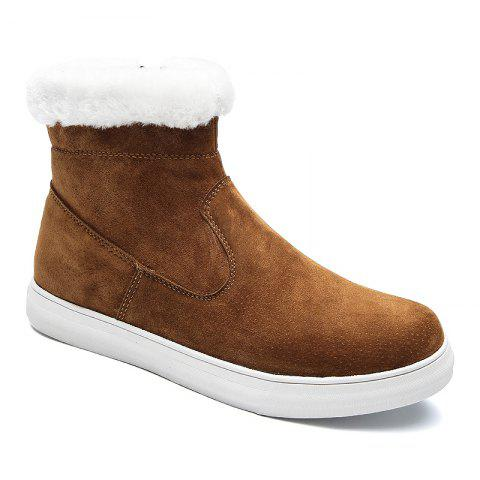 Men Casual Trend of Fashion Rubber Leather Outdoor Snow Warm Ankle Boots - KHAKI 40