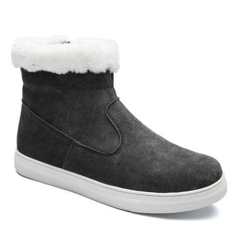 Men Casual Trend of Fashion Rubber Leather Outdoor Snow Warm Ankle Boots - GRAY 40