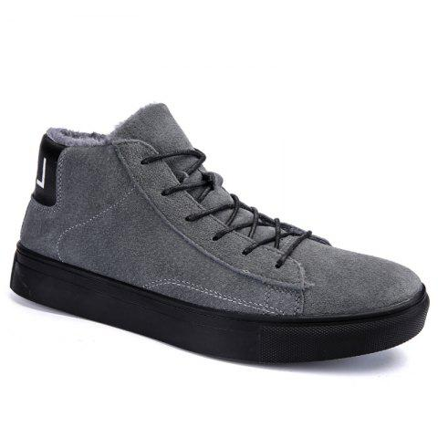 Men Casual Trend of Fashion Rubber Leather Outdoor Lace Up Snow Warm Ankle Boots - GRAY 40