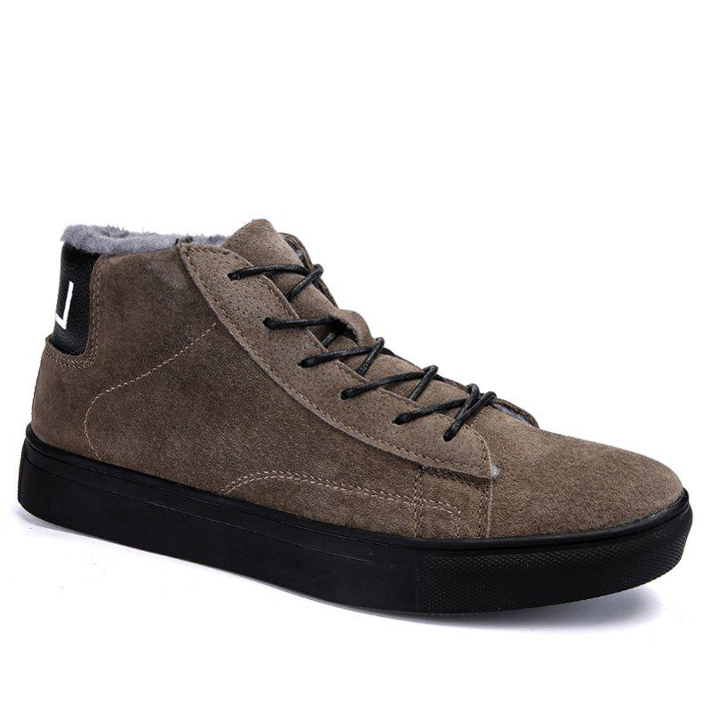 Men Casual Trend of Fashion Rubber Leather Outdoor Lace Up Snow Warm Ankle Boots - KHAKI 40