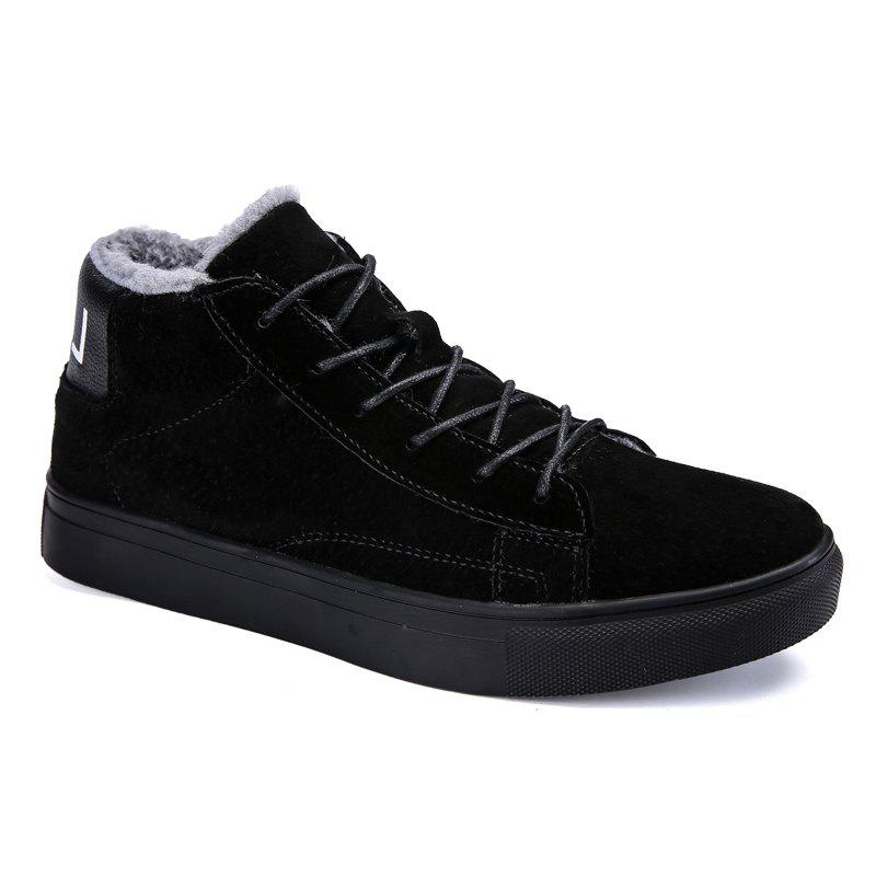 Men Casual Trend of Fashion Rubber Leather Outdoor Lace Up Snow Warm Ankle Boots - BLACK 40