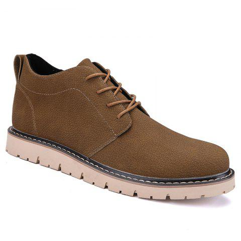 Men Casual Trend of Fashion Rubber Leather Outdoor Lace Up Shoes - KHAKI 40