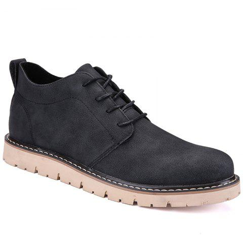 Men Casual Trend of Fashion Rubber Leather Outdoor Lace Up Shoes - BLACK 44